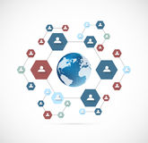 Network concept with hexagons Royalty Free Stock Image