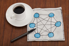 Network concept on napkin Royalty Free Stock Photo
