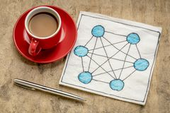 Network concept on napkin. Concept of fully connected computer network mesh - napkin doodle with a cup of espresso coffee against tetured bark paper stock photo