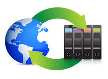 Network Concept – Servers and globe Stock Photos
