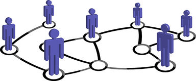 Network conception. Connected Symbol People associate in 3D Social or Business Community Network Nodes Royalty Free Stock Images