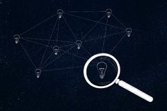 Network of connected light bulbs with magnifying glass on it Royalty Free Stock Photography