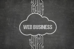 Network Connecting To Web Business Text In Cloud On Chalkboard royalty free stock images