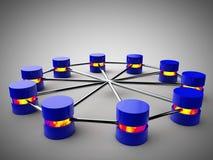 Network connection. Blue symbolic Database Network connection symbolic networking Stock Photos