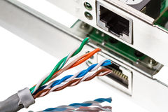 Network Connection and cable CAT5 Stock Photography