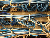 Network connection cables in datacenter Royalty Free Stock Photo