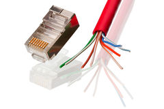 Network Connection element and cable CAT 5 Stock Photos