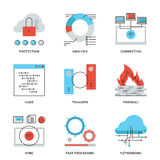 Network and connection elements line icons set Royalty Free Stock Image