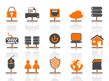 Network connection icons set stock illustration