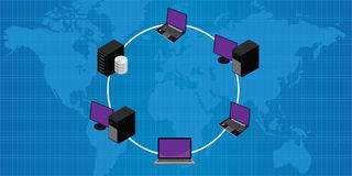 Network connection lan wan ring topology Stock Images