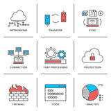 Network and connection line icons set Royalty Free Stock Photo