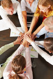 Network connection with many hands royalty free stock photo