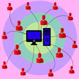 Network connection through out people Stock Photo