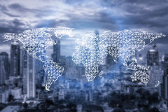 Network connection partnership and world map with city Royalty Free Stock Photography