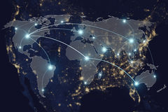 Network connection partnership and world map. Stock Photos