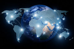 Network connection partnership and world map. Royalty Free Stock Photo