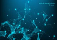 Network Connection Punkte und Linien Telefon mit Planetenerde und binärem Code plexus Großer Daten-Hintergrund Abbildung lizenzfreies stockbild
