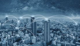 Network connection technology in the city, Blue cityspace with connection network lines. Network connection technology in the city, Blue cityspace with stock photography