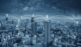 Network connection technology in the city, Blue cityspace with network links and location signs. Network connection technology in the city, Blue cityspace with royalty free stock photography