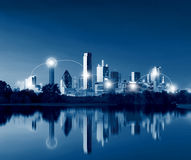 Network and Connection Technology Concept of Dallas Skyline Refl. Ection at Dawn, Downtown Dallas,Texas, USA Royalty Free Stock Photo