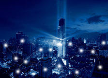 Network and Connection Technology Concept of Lights Show of Bang Royalty Free Stock Photo