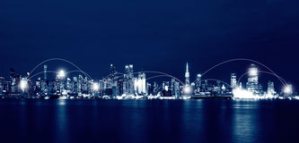 Network and Connection Technology Concept of New York City Skyli Stock Image