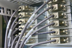 Network connections going into rack Royalty Free Stock Image