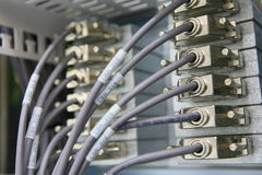 Network connections going into rack Royalty Free Stock Photo