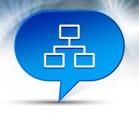 Network connections icon blue bubble background stock image