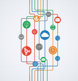Network connections, information flow with icons. Royalty Free Stock Photo