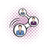 Network connections between people comics icon Stock Image