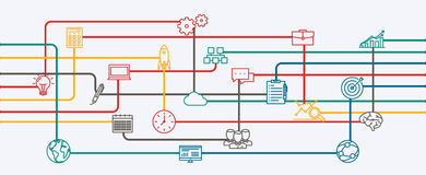 Network connections, planning and strategy of startup a business project. Royalty Free Stock Photos