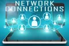 Network Connections. Text illustration with social icons and tablet computer and mobile cellphones on cyan digital world map background Royalty Free Stock Images