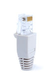 Network Connector. Small network connector isolated with clipping path over white background Stock Photo