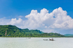 Network coverage even in a remote area. Fishermen fishing in a deep sea Royalty Free Stock Photos
