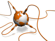 Network. 3d illustration of rj45 cable and earth globe Stock Photo