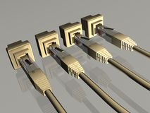 Network. 3d illustration of  rj45 network cable in white background Royalty Free Stock Photography