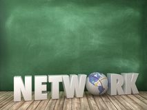 NETWORK 3D Word with Globe World on Chalkboard Background. High Quality 3D Rendering vector illustration