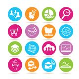 Network and data analysis icons. Set of 16 network and data analysis icons in colorful buttons vector illustration