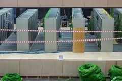 Network data center with green wires. View of Network data center with green wires stock photos