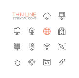 Network Data - modern vector single thin line icons set Stock Photo