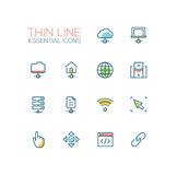 Network Data - modern vector single thin line icons set Royalty Free Stock Photos