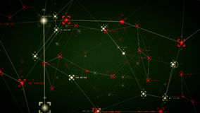 Network Data Points Green Hot stock footage