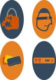 Network and Data Security Icons. Icons portraying some network and data security ideas as a reminder to protect from hackers stock illustration