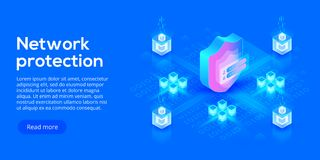 Network data security isometric vector illustration. Online server protection system concept with datacenter or. Blockchain. Secure bank transaction with royalty free illustration