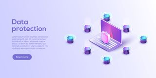 Network data security isometric vector illustration. Online server protection system concept with datacenter or. Blockchain. Secure bank transaction with stock illustration