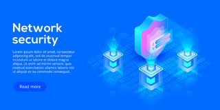 Network data security isometric vector illustration. Online server protection system concept with datacenter or. Blockchain. Secure bank transaction with vector illustration