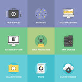 Network data services flat icons set Royalty Free Stock Image