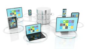 Network database and communication devices icons. On white background Stock Images