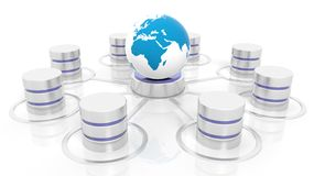 Network database connected with world icon Royalty Free Stock Photos